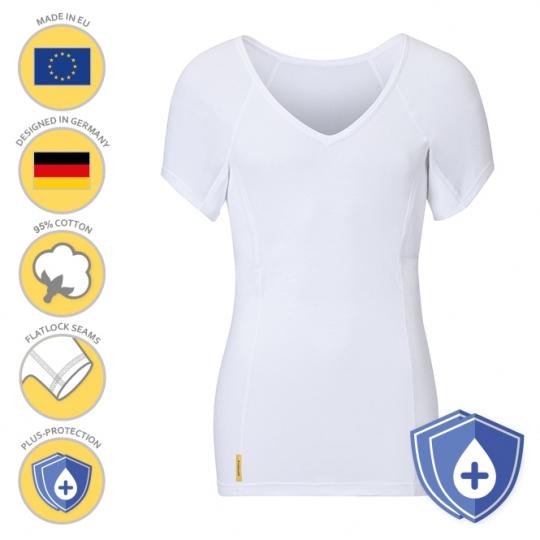 MANJANA® Man-V-classic-PLUS-Shirt - extra starkem Achselnässeschutz Weiss : XL