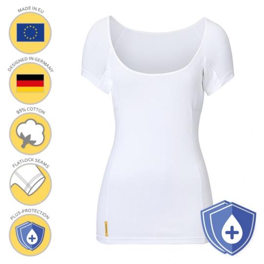 MANJANA® Women-U-modern PLUS-Shirt - extra starker Achselnässeschutz Weiss : L